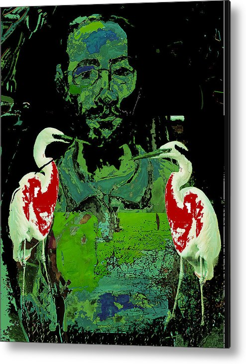 Birds Metal Print featuring the painting Bleeding Birds by Noredin Morgan