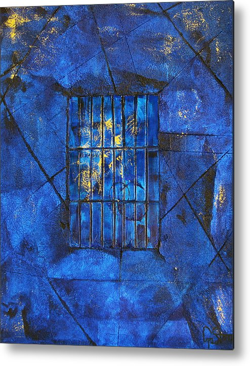 Abstract Metal Print featuring the painting Blue Dreams by Dawnstarstudios