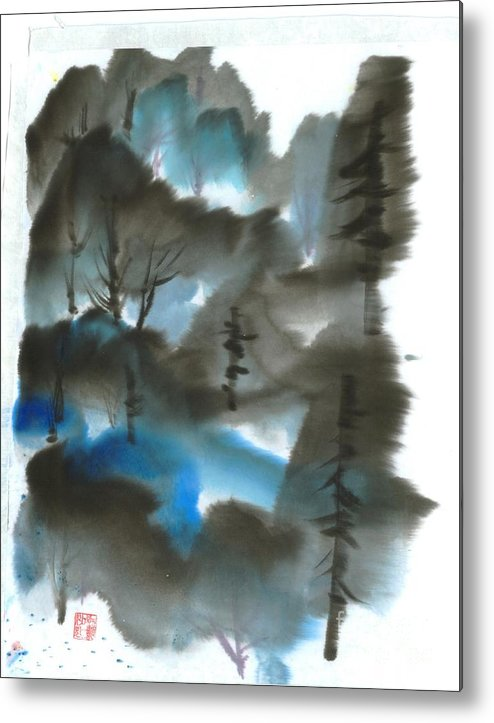 A Forest With A Tint Of Blue. This Is A Contemporary Chinese Ink And Color On Rice Paper Painting With Simple Zen Style Brush Strokes.  Metal Print featuring the painting Blue Forest by Mui-Joo Wee