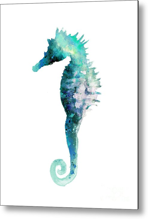 Seahorse Metal Print featuring the painting Blue Seahorse Minimalist Painting by Joanna Szmerdt