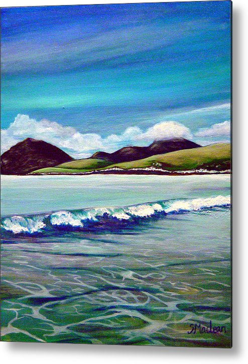 Contemporary Landscape Metal Print featuring the painting Blue Wave by Stephanie Maclean