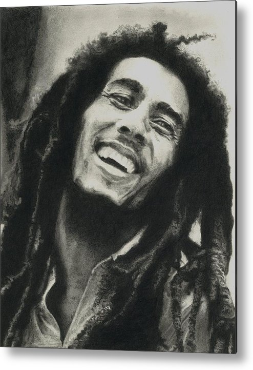 Drawing Metal Print featuring the drawing Bob Marley by Dan Lamperd