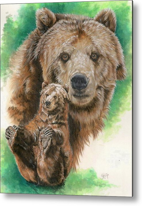 Bear Metal Print featuring the mixed media Brawny by Barbara Keith