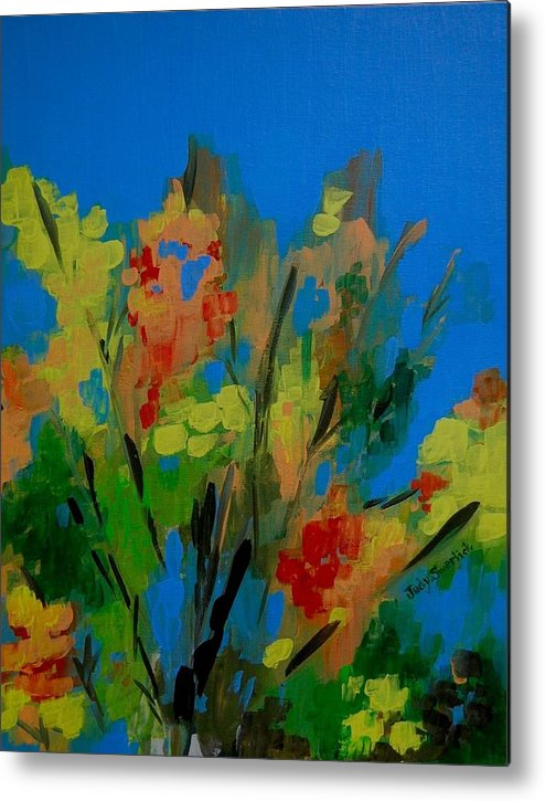 Nature Metal Print featuring the painting Bright Flowers On Blue by Judy Swerlick