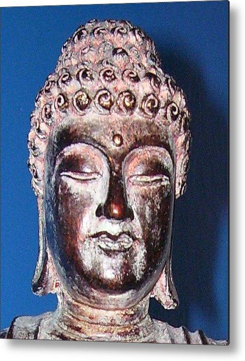 Buddha Metal Print featuring the photograph Buddha Head 1 by Lindsay Clark