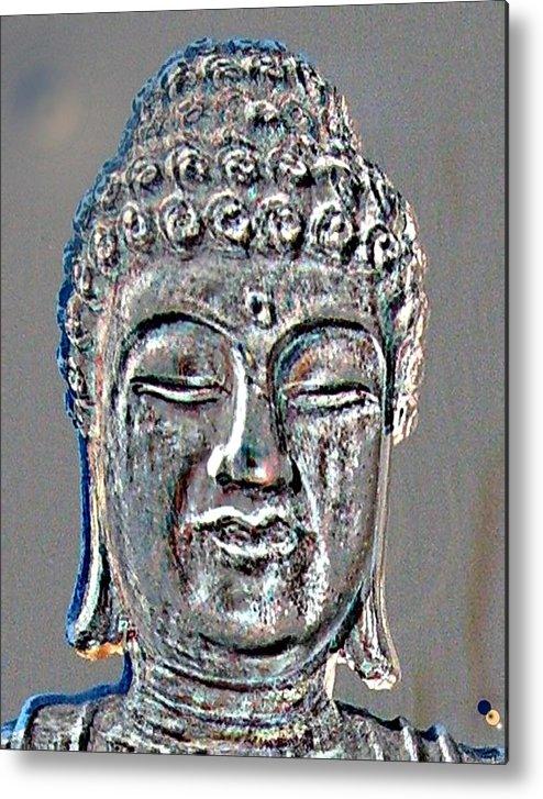 Buddha Metal Print featuring the photograph Buddha Head 3 by Lindsay Clark