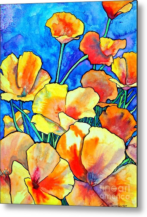 Floral Metal Print featuring the painting California Poppies by Gail Zavala