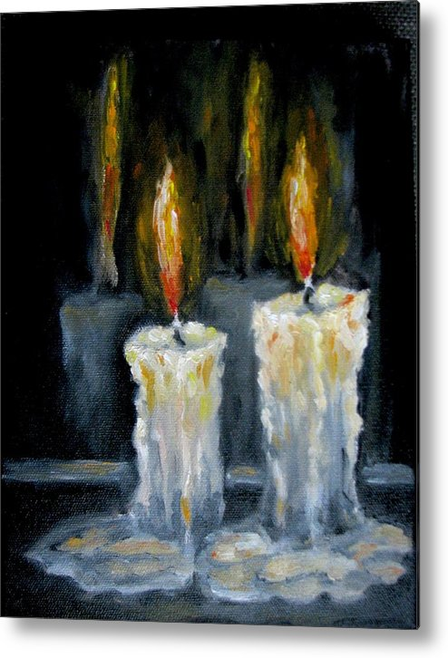 Candles Metal Print featuring the painting Candles Oil Painting by Natalja Picugina
