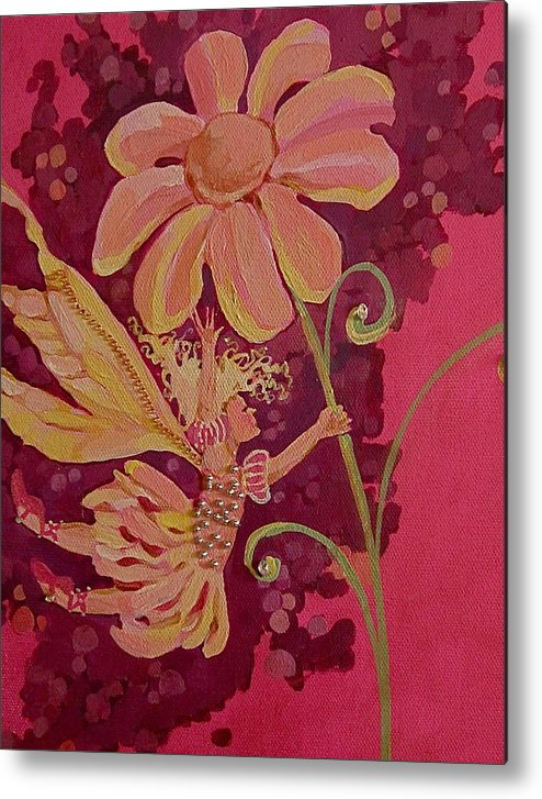 Flower Pink Fairy Child Metal Print featuring the drawing Candy 2 by Jackie Rock