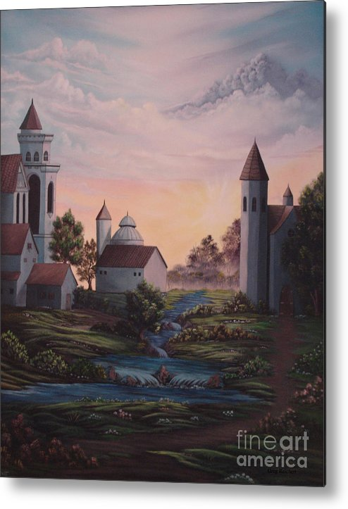 Buildings Metal Print featuring the painting Castle 1 by Greg Reichert