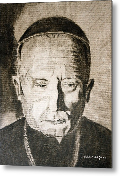 Catholic Metal Print featuring the pastel Catholic Cardinal Jozsef Mindszenty by Arline Wagner