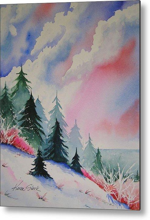 Snow Metal Print featuring the painting Cedar Fork Snow by Karen Stark