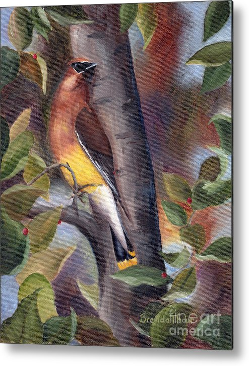Bird Metal Print featuring the painting Cedar Waxwing by Brenda Thour