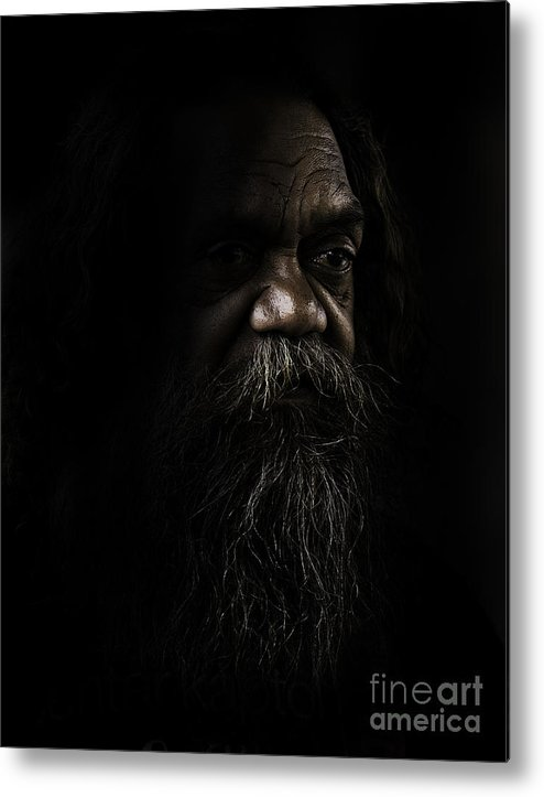 Fullblood Aborigine Metal Print featuring the photograph Cedric In Shadows by Sheila Smart Fine Art Photography