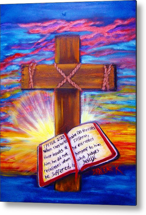 Cross Metal Print featuring the painting Chads Cross by Darlene Green