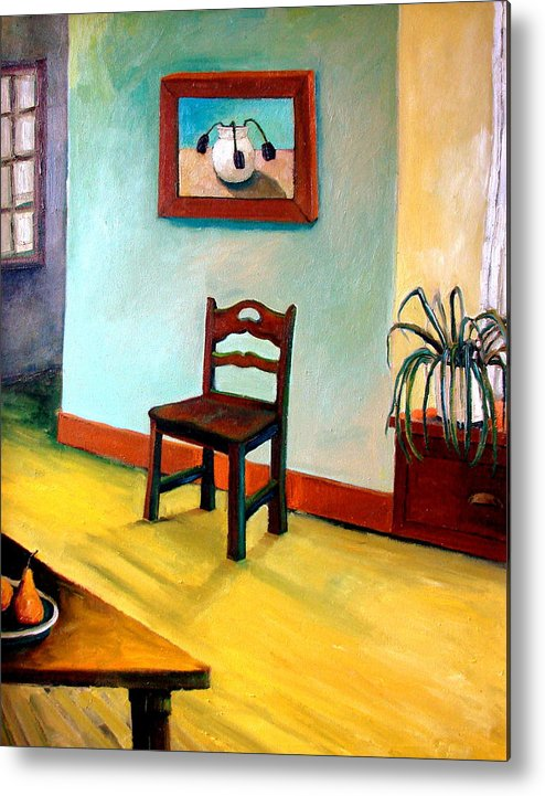 Apartment Metal Print featuring the painting Chair And Pears Interior by Michelle Calkins