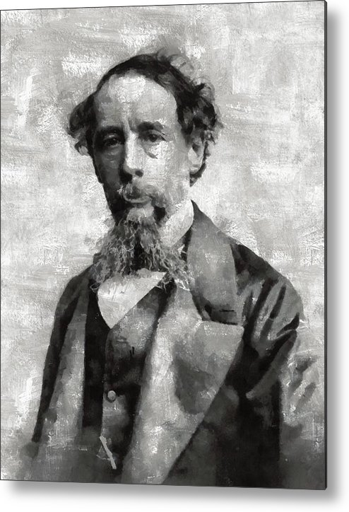Charles Metal Print featuring the painting Charles Dickens Author by Mary Bassett