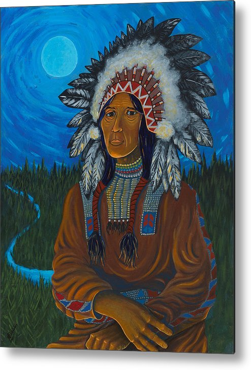 Chief Metal Print featuring the painting Chief Before Campfire by Arnold Isbister