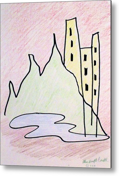 Abstract Metal Print featuring the drawing City Out Of The Wilderness by Arlene Wright-Correll