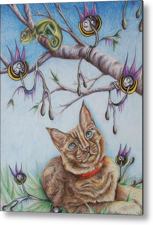 Cat Metal Print featuring the drawing Coexistance by Andrea Darlington