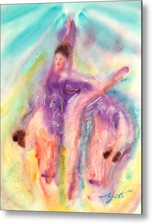 Ballet Art Metal Print featuring the painting Colorful Dance by John YATO