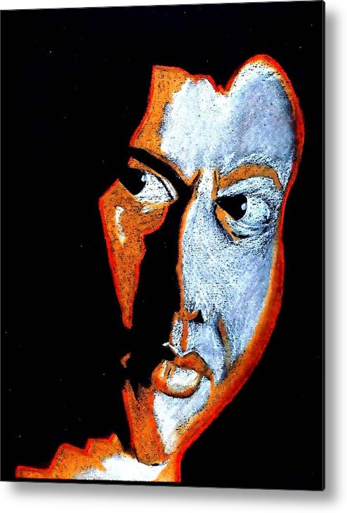 Man Metal Print featuring the painting Conflict by Lorna Lorraine