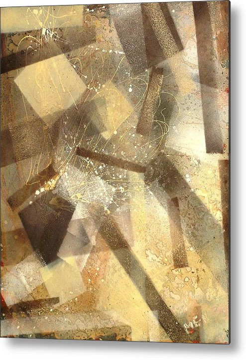 Abstract Metal Print featuring the painting Construction In Brown by Evguenia Men