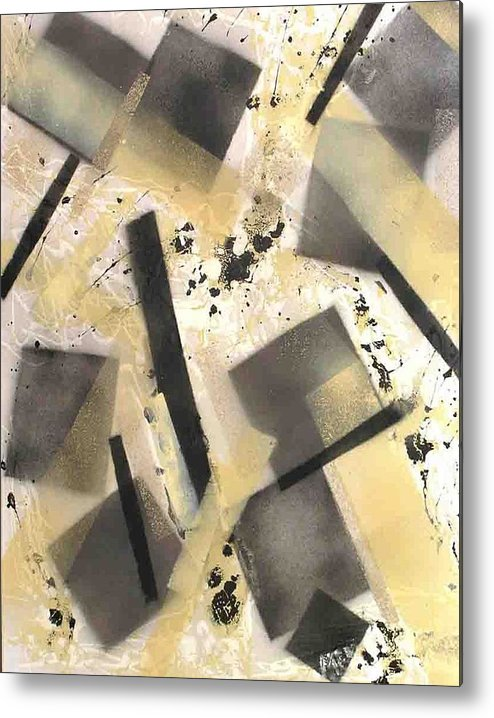 Abstract Metal Print featuring the painting Construction In Cream by Evguenia Men