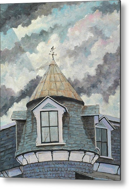 Art Metal Print featuring the painting Crack The Sky_reserve by Richard T Pranke
