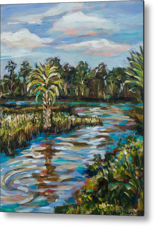 Southern Landscape Metal Print featuring the painting Crazy Fish Bridge by Linda Olsen
