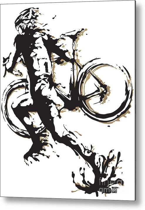 Cyclocross Metal Print featuring the painting Cyclocross Poster1 by Sassan Filsoof