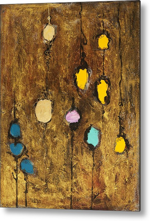 Abstract Metal Print featuring the painting Dangling Blossoms by Tara Thelen