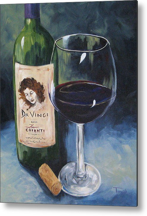 Wine Metal Print featuring the painting Davinci Chianti For One  by Torrie Smiley
