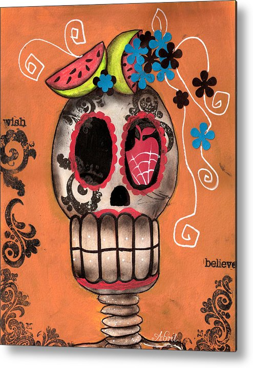Day Of The Dead Skeleton Metal Print featuring the painting Day Of The Dead Watermelon by Abril Andrade Griffith