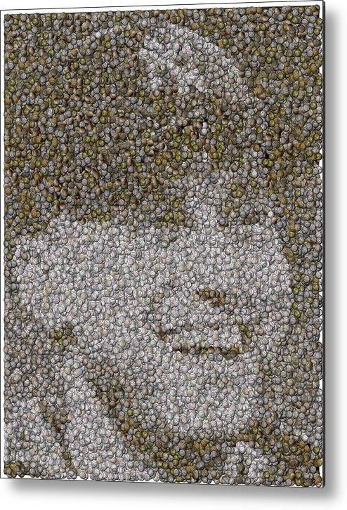 New York Metal Print featuring the mixed media Derek Jeter Baseballs Mosaic by Paul Van Scott