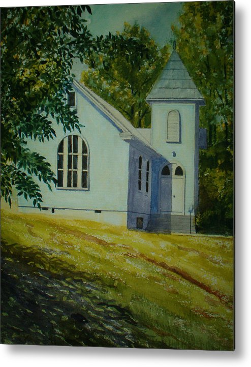 Landscape Metal Print featuring the painting Edgemont Baptist Church by Shirley Braithwaite Hunt