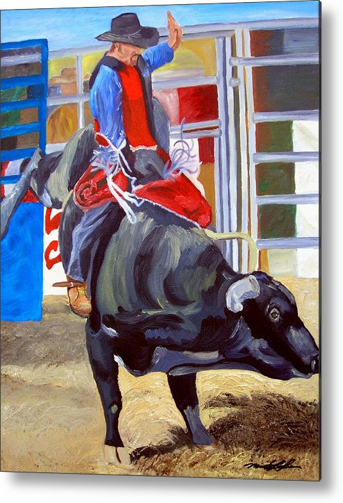 Bull Riding Metal Print featuring the painting Eight Long Seconds by Michael Lee