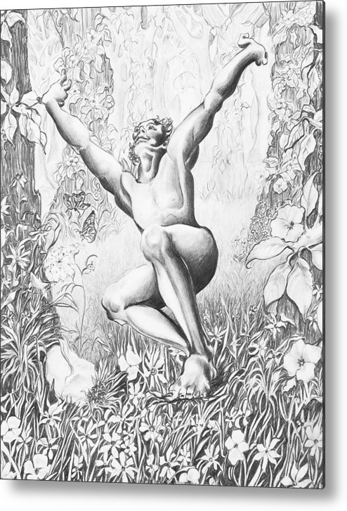 Flower Metal Print featuring the drawing Elation by Victoria Shea