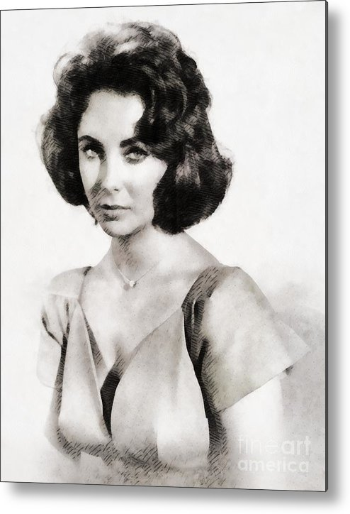 Hollywood Metal Print featuring the painting Elizabeth Taylor, Vintage Hollywood Legend By John Springfield by John Springfield