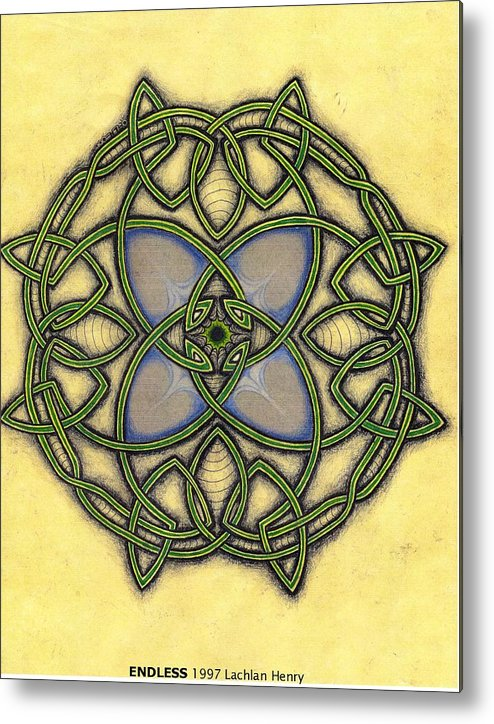 Knotwork Metal Print featuring the drawing Endless by Lachlan Henry