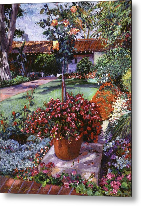 Gardens Metal Print featuring the painting Evening Shadows by David Lloyd Glover