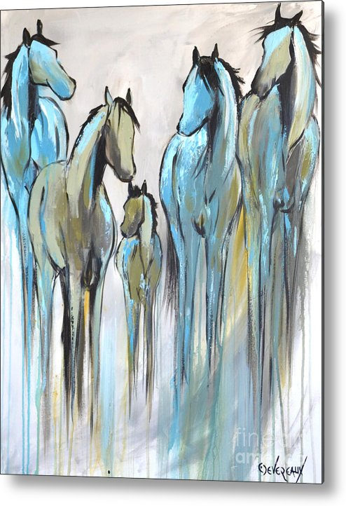 Horse Metal Print featuring the painting Fading 2 by Cher Devereaux