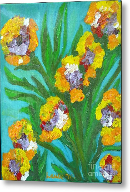 Flower Metal Print featuring the painting Fire Blossoms by Laurie Morgan