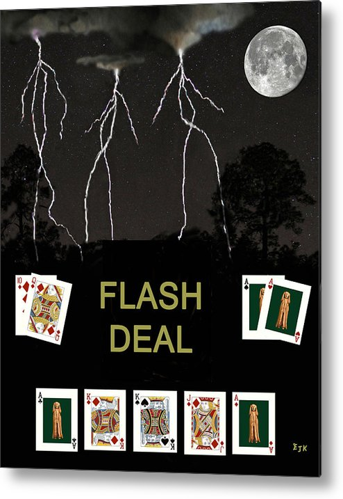 Flash Deal Metal Print featuring the mixed media Flash Deal Poker Cards by Eric Kempson