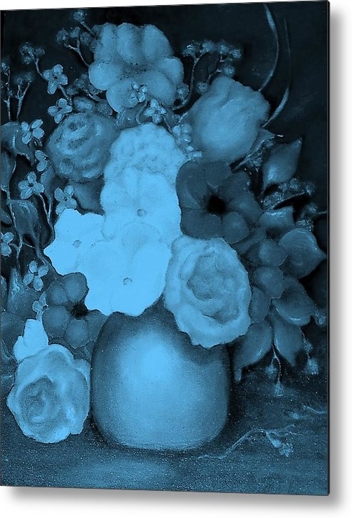 Blue Flowers Metal Print featuring the painting Flowers In Blue by Jordana Sands
