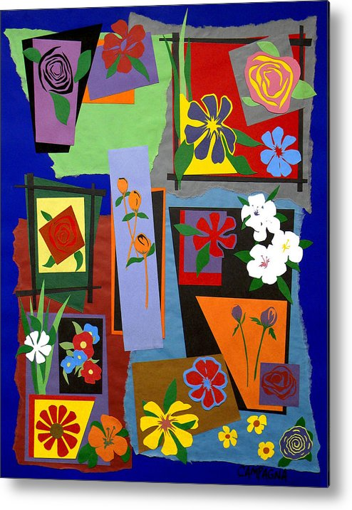 Cut Paper Metal Print featuring the tapestry - textile Flowers Study 1 by Teddy Campagna