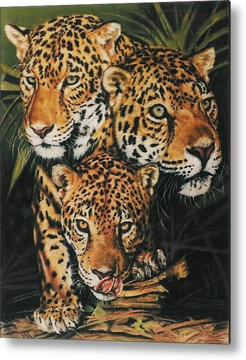 Jaguar Metal Print featuring the pastel Forest Jewels by Barbara Keith