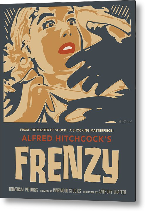 Film Metal Print featuring the print Frenzy - Thriller Noir by Bill ONeil