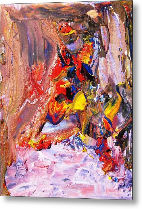 Junk Metal Print featuring the painting Garbage Falls by Bruce Combs - REACH BEYOND
