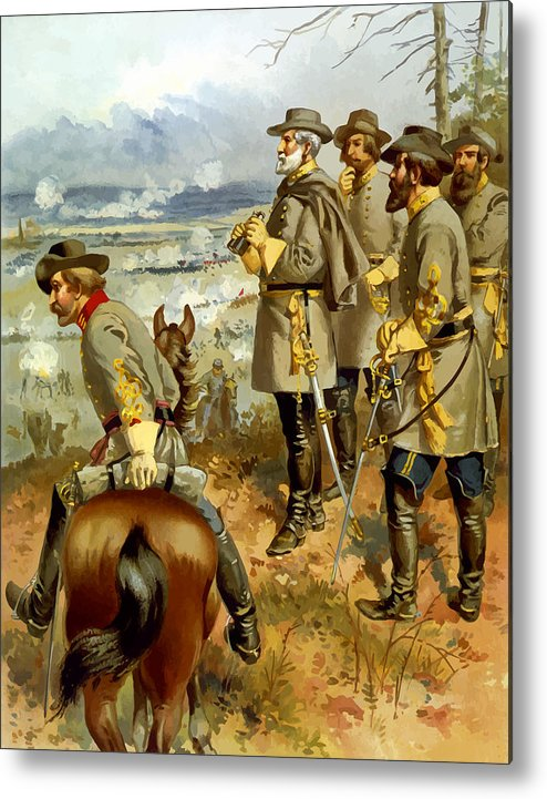 Civil War Metal Print featuring the painting General Lee At The Battle Of Fredericksburg by War Is Hell Store